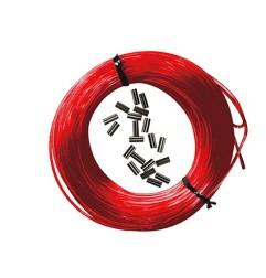 Kit 25m mono-fil nylon red + 10pcs Sleeves black